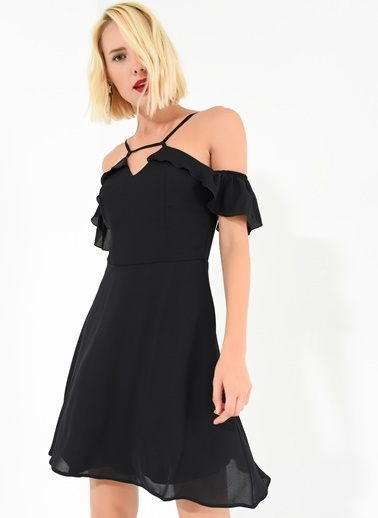 Kolları Fırfırlı Elbise-Agenda